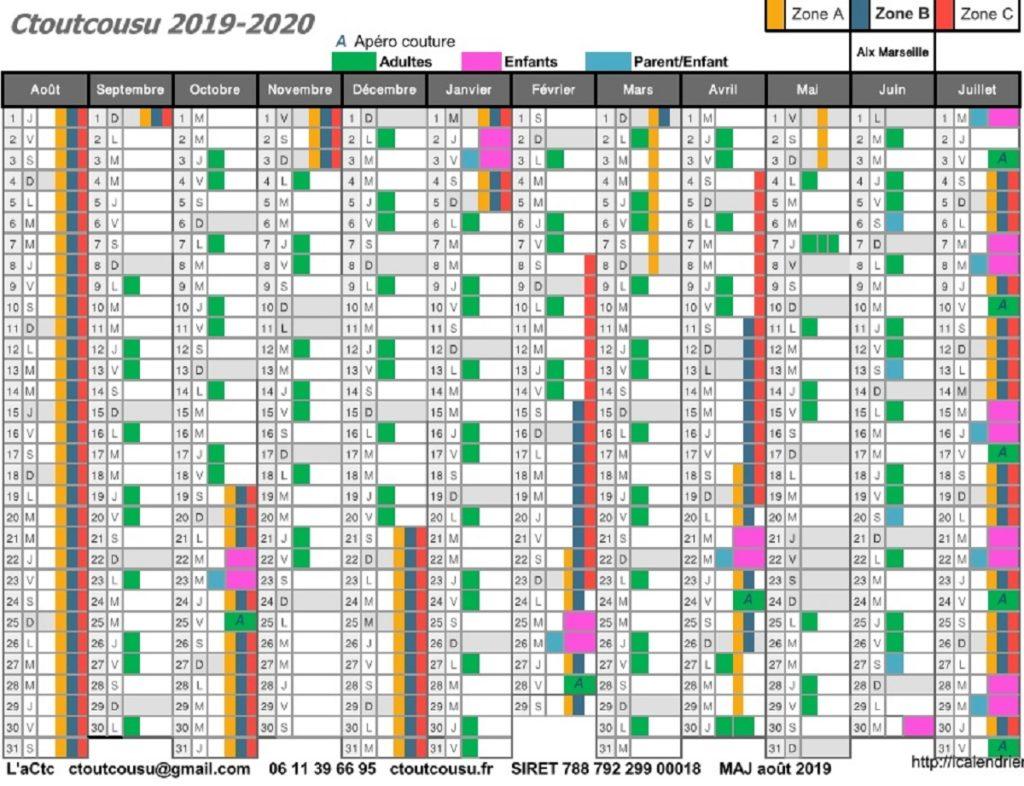 Calendrier cours de couture Ctoutcousu 2019 2020