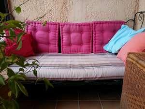 Housse de matelas de banquette en toile de coton façon bayadère, beige, turquoise et rose