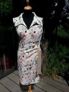 Robe d'été en coton léger imprimé façon japonais, de forme portefeuille avec col