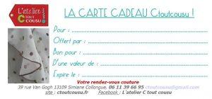 """Une carte """"Bon cadeau Couture"""" pour offrir ou vous faire offrir un rendez-vous couture !"""