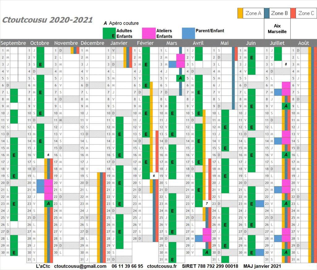 Calendrier des cours de couture Ctoutcousu 2020 2021