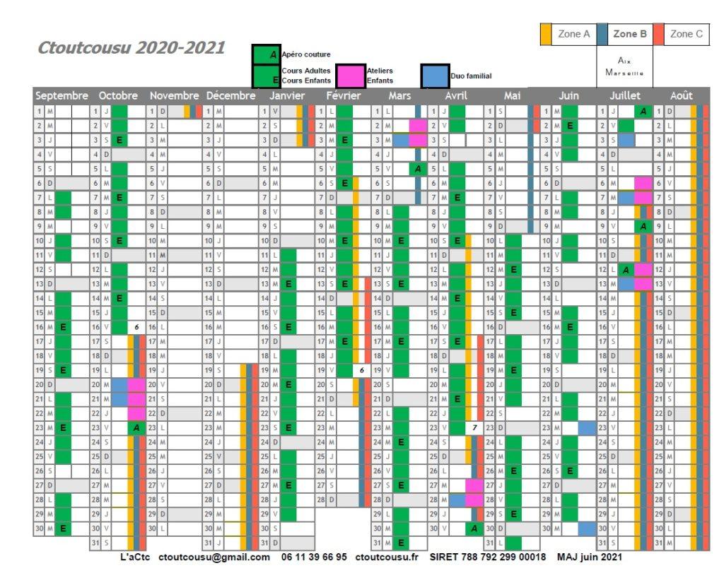 Les dates des ateliers d'été 2021