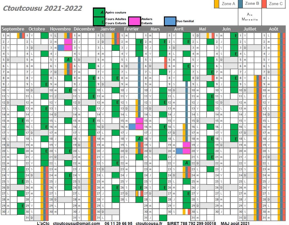 Calendrier des cours de couture Ctoutcousu 2021 2022